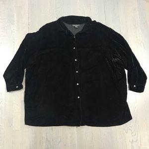 Lane Bryant 26/28 Velvet Button Down Shirt Blouse
